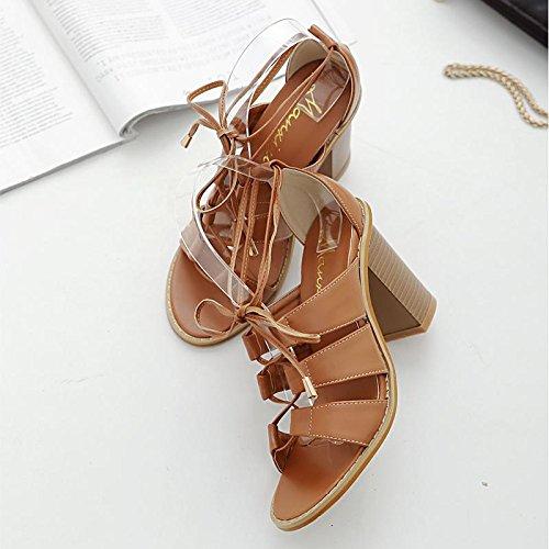 LvYuan-mxx Sandales femme / Printemps été / Rome chaussures / Cross sangles creux / talon chunky / ouvert orteil / Confort Casual / Bureau & Carrière Robe / Talons hauts BROWN-37