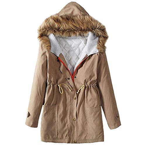 Damen Winter Mantel Winterparka Langarm Winterjacke Mit Umstandsmode Kapuze Vintage Verdicken Wintermantel Warm Outdoor Outwear Hochwertig (Color : Khaki, Size : M)