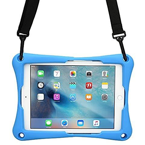 Barnes & Noble Nook HD+ case, COOPER TROOPER 2K Shoulder Strap Rugged Heavy Duty Tough Protective Drop Shock Proof Rubber Silicon Carry Kids Toy Work Holder Cover Bag, Stand