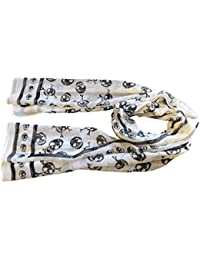 White Designer Style Chiffon Feel Skull & Cross Bone Ladies Scarf, shawl, Wrap posted from London