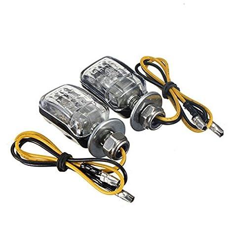 6 Feux clignotants a DEL - TOOGOO (R)2 X 6 LED Noir Moto Mini Clignotants lumiere jaune
