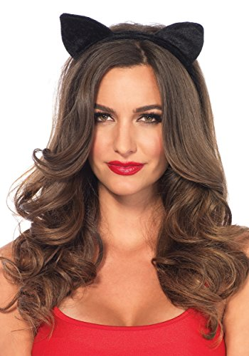Leg Avenue A2783 - Samt Haarreif mit Katzenohren, Damen Karneval Kostüm Fasching, Einheitsgröße, schwarz (Katzenohren Kostüm)
