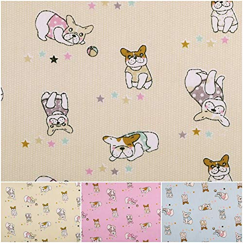 DIE NÄHZWERGE Baumwollstoff Motivkollektion MOPS - Meterware ab 50cm, 3 Farben | 100% Baumwolle - Nähen Quilten Kinderstoff Tiere Hunde (Creme) -