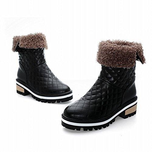 Chunky Kurzschaft Schwarz Shoes Plateau Heels Mee Damen Schneestiefel xU7O1Sa