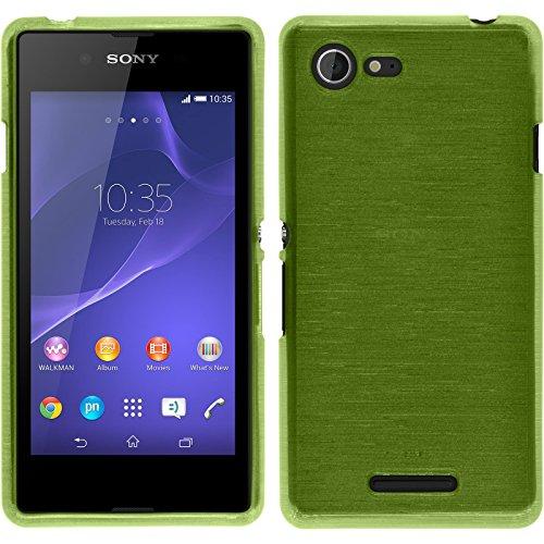PhoneNatic Case kompatibel mit Sony Xperia E3 - pastellgrün Silikon Hülle Brushed + 2 Schutzfolien (Sony E3 Case Grün Xperia)