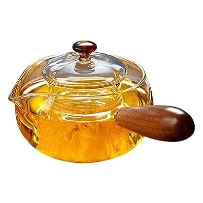 Épaississement théière en verre avec Filtre à thé côté de l'aile de poulet bois pot en verre résistant à la chaleur théière