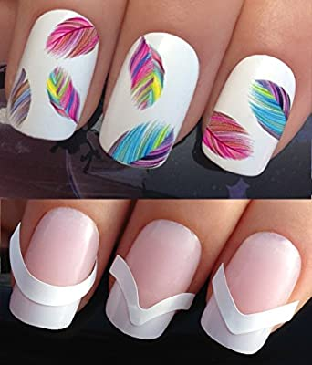 WATER NAIL TRANSFERS DECALS STICKERS ART SET #619 & 172. **plus x48 nail tip guides!!** x20 COLOURFUL RAINBOW FEATHER PLUMES TATTOO WRAPS & x48 FRENCH MANICURE TIP GUIDES! CAN BE USED WITH NATURAL GEL ACRYLIC STICK ON NAILS! OR WITH GLITTER DUST CAVIAR BE