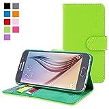 Cover Galaxy S6, Snugg Samsung Galaxy S6 Flip Custodia Case [Slot Per Schede] Pelle Portafoglio Progettazione Esecutiva [Garantita a Vita] - Verde, Legacy Range