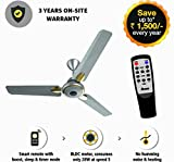 Gorilla Energy Saving 5 Star Rated 1200 Mm Premium Ceiling Fan With Remote Control And Bldc Motor- Sand Grey