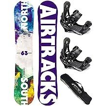 AIRTRACKS SNOWBOARD SET - TABLA NORTH SOUTH 159cm - FIJACIONES SAVAGE M - SB BAG