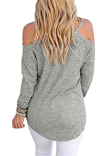 SHUNLIU Tops Damen Locker Schulterfrei Langarm Sweater Hellgrau