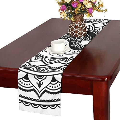 YSJXIM Kreisform Mandala Henna Mehndi Tischläufer, Küche Esstischläufer 16 X 72 Zoll für Dinner Parties, Events, Dekor