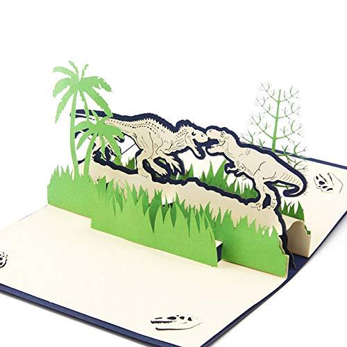 SimpleLife 3D Pop Up Dinosaurier Einladung Grußkarte Geburtstag Valentinstag Neujahr 10 × 15 cm (Einladungen Geburtstag Dinosaurier)