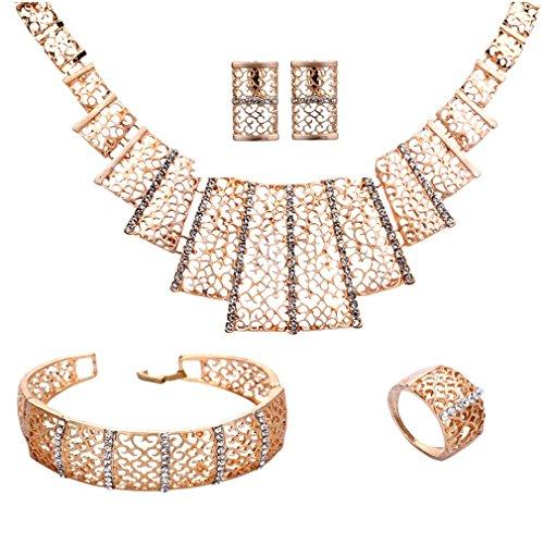 Yazilind Collier plaqué Or Bracelet Boucles d'oreilles Bague Bijoux Hollowed pour Les Femmes