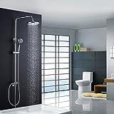 BONADE Aufputz Duscharmatur Duschset Höhenverstellbar Duschsystem mit Handbrause Kopfbrause und 8 Zoll Regenduschkopf