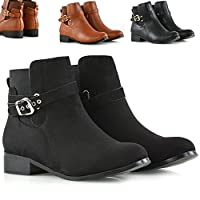 Womens Chelsea Boots Elastic Block Flat Heel Ladies Buckle Casual Stretch Ankle Boots Shoes Size 3-8