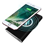 Hunpta Tragbare externe USB-Energien-Bank 8000mAh u. Drahtloses Ladegerät 2 in 1 für Iphone X (Schwarz)