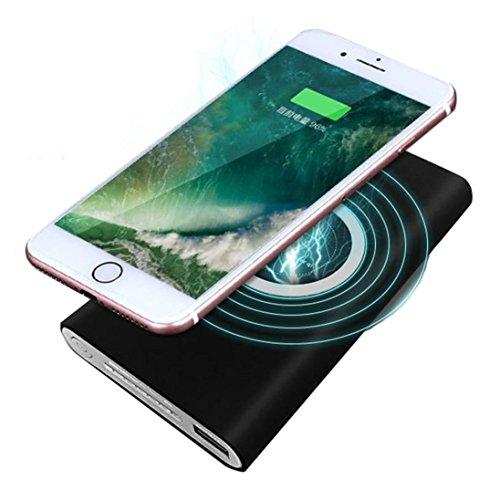 Hunpta Tragbare externe USB-Energien-Bank 8000mAh u. Drahtloses Ladegerät 2 in 1 für Iphone X (Schwarz) Universal-charge-bar