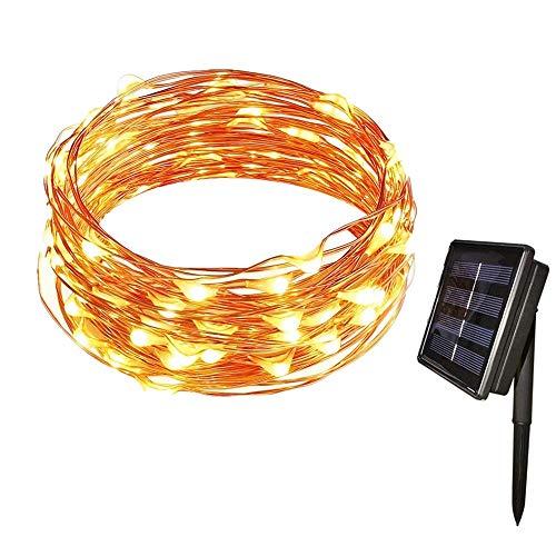 AUFUN Solar Lichterkette 100 LED Lichterketten, Garten Außen 12m Warmweiß, Solar Beleuchtung Kugel für Party, Weihnachten, Outdoor, Fest Deko usw. (Kupferdraht, Warmweiß)