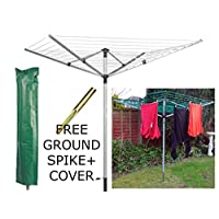 LIVIVO Outdoor Garden 4 Arm 45m folding Rotary Washing Line Clothes Airer Dryer with Free Ground Spike and Cover (Silver)