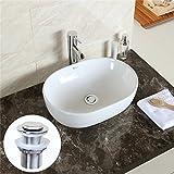 Earlybird Savings Bathroom Countertop Oval Bowl Top Ceramic Basin Sink Free Pop Up Waste Included