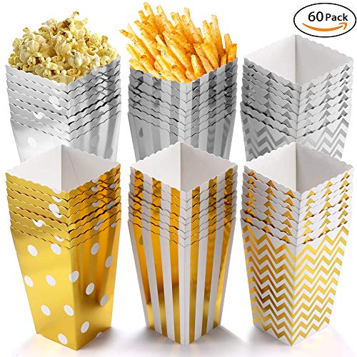 pcorn Boxen, Popcornboxen Partyzubehör, Pappe Party Candy Container,12 x 7CM (60 Stück) ()