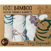 Tiny Chipmunk - 100% Muselina Bambú ara Bebés - Extra Grande (120 x 120 cm) - Muselinas Pack de 4 - Caja de Regalo - Mantas de Muselina