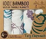Tiny Chipmunk 100% Bambus Baby Musselin-tuch - Pucktücher 4er-Pack - Extra groß, Super weich Plüschelemente - 120cm x 120cm - Ideal fürs Kderbett – Unisex