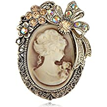 Flower Ribbon Old Style strass cristal Cameo Maiden Broche Bow