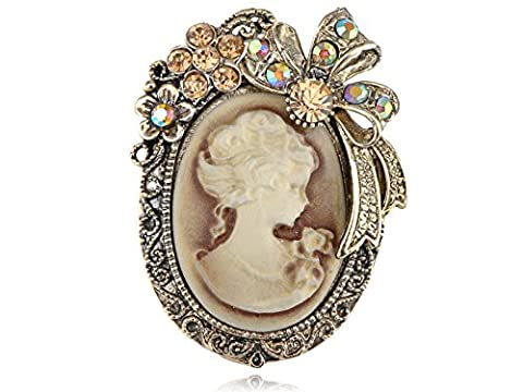 Old Style Crystal Rhinestone Cameo Maiden Flower Ribbon Bow Pin