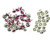 Weddecor 10x 8mm, Farbe: ab, Acryl mit Strass mit Zubehör für Rivet Nieten, Leder, zum Basteln, Designer-Gürtel, Kleidung, Taschen, Hunde-Halsbänder, metall, hot pink, 50