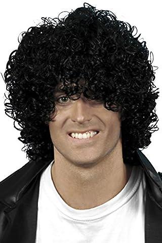 Costumes Bouclés Noir Costume Wig - Smiffys Homme, Perruque afro effet mouillé, Noir,