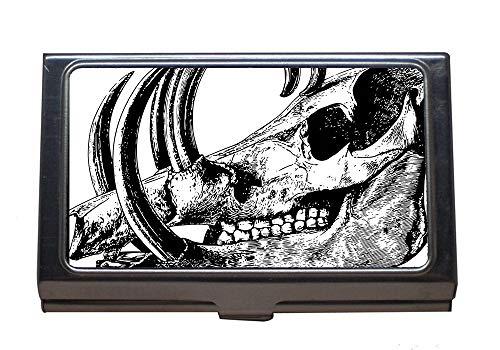 Titolare della carta di nome aziendale, cranio di scheletro di mammiferi con testa di ossa di animali, titolare della carta in acciaio inossidabile