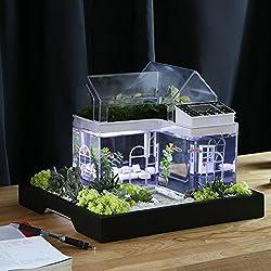 Mini acrilico micro paesaggio acquario ufficio scrivania piccola ecologia personale salone multifunzionale creativo acquario USB alimentato LED serbatoio serbatoio di pesce