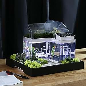 Acrylic mini micro landscape aquarium office desk small for Fish tank desk