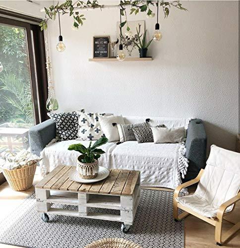 Mesa de Palets Color Blanco & Madera (Barnizada con barniz Incolor)