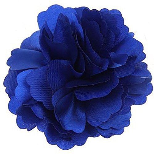 Tinksky Femmes Filles cheveux clip épingle à cheveux Broche Magnifique Satin pivoine Fleur Style (Bleu Royal)
