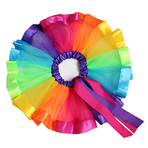 GRACE KARIN Girl Layered Tiered Rainbow Ribbon Tutu Ballet Skirt