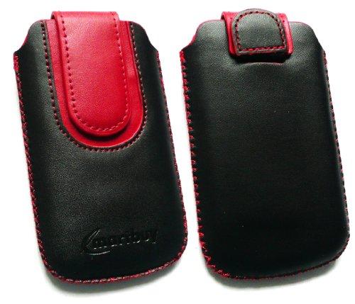 Emartbuy ® Schwarz / Rot PU Leder Tasche Hülle Schutzhülle Case Cover (Größe Medium) mit Ausziehhilfe Geeignet Für Huawei G6151
