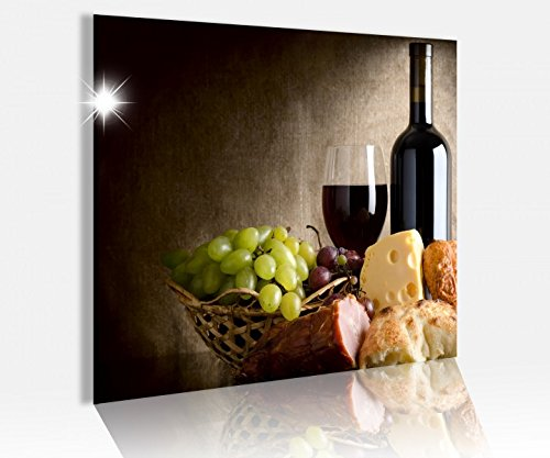 Acrylglasbild 50x50cm Stillleben Essen Wein Traube Brot Glasbild Bilder Acrylglas Acrylglasbilder Wandbild 14C512, Acrylglas Größe3:50cmx50cm (Bilder Und Wein Trauben)