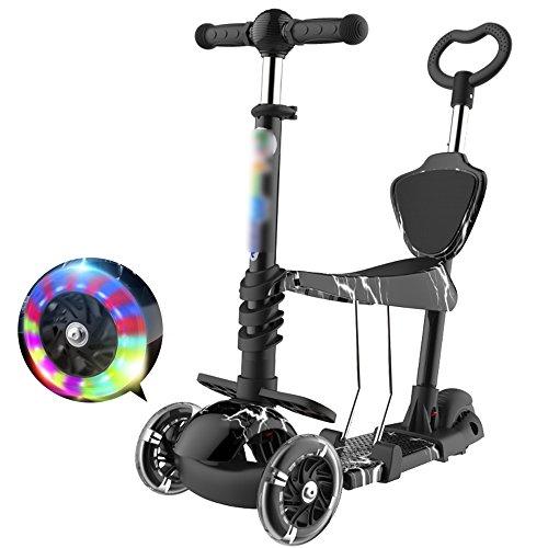 QFFL huabanche Scooter de Tres Ruedas Scooter para Principiantes Niños de 3-12 años Twist Car Flash Carro de bebé Triple Bloque Deslizante Desmontable 5 Colores Opcional (Color : B)
