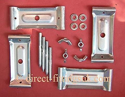 1x SET of 4 MEDIUM TABLE Leg CORNER brace/bracket with Dowels, Washers & nuts or wing nuts. (1x Set 4 MED leg set. W/WING