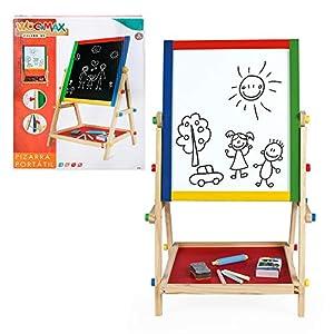 ColorBaby 43688 Play & Learn - Pizarra Doble con Caballete de Madera, Multicolor, 40 x 36.5 x 68 cm