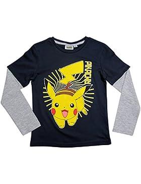Pokemon Langarmshirt Kollektion 2017 Shirt 104 110 116 122 128 134 140 146 152 Neu Jungen Pikachu Dunkelblau-Grau