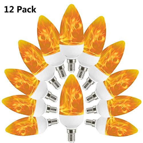 XXIONG Gelb 3W LED Kerze Flammen Glühbirne E14 mit 2 Modi 12 Pack, 100lm Auccy Flackerlicht für Innen, Bar, Halloween Dekoration Glühbirnen Dekorative Beleuchtung lampen, 11.5 cm * 4 cm