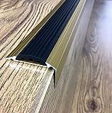 Anodised Aluminium Stair Nosing Edge Trim Step Nose Edging Nosings - TITANIUM, SILVER, GOLD -1.20 METER LENGTH Arbiton By TMW Profiles (Gold)