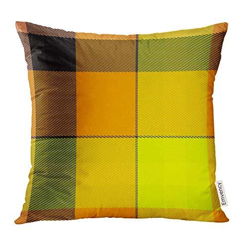 Throw Pillow Cover Scottish Tartan Plaid in Yellow and Orange Shades Abstract Dekorative Kissenbezug Home Decor Square 18 x 18 Zoll Kissenbezug -