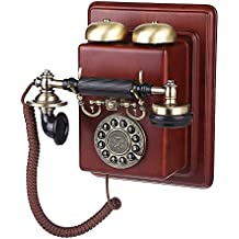 xie antiguo montado en la pared Europea teléfono Vintage madera avión/gama alta mecánico Bell (1912)