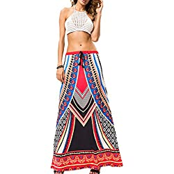 Las mujeres impresión Swing largo Casual falda Bohemia Orange One Size