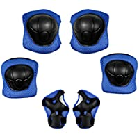 Waycreat 6 in 1 Kids Knee Pads Set, Protective Knee Elbow Pads with Adjustable Wrist Guards Children Protection Safety for Roller Skating Bicycle